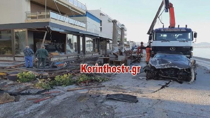 Λουτράκι: αυτοκίνητο διέλυσε τρία καταστήματα