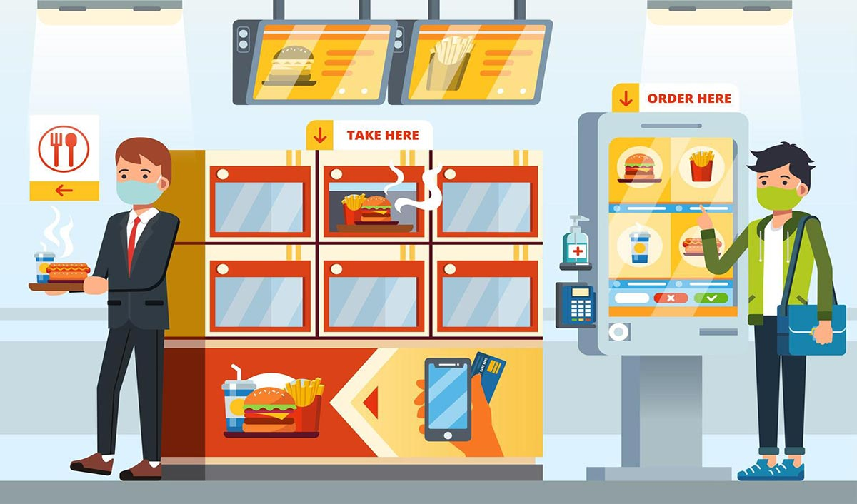 people-using-self-service-in-restaurant-free-vector